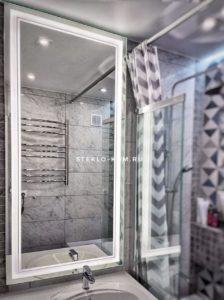 Зеркало с led подсветкой выполненное по индивидуальному размеру 1400х550 мм.